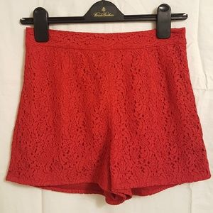 Diane von Furstenberg red lace shorts